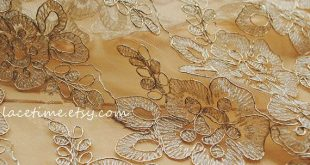 Gold Lace Fabric, Bridal Lace Fabric with Gold Thread Cord, Antique Gold Lace…
