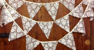 Traditional lace wedding bunting banner in ivory or white 29 flags attached side...