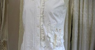 White Romantic Blouse, eyelet fabric blouse, Victorian embellished with lace doily beads buttons, MEDIUM