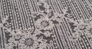 Beaded ivory lace fabric, Sequin lace, French lace, Chantilly lace, Bridal lace, Wedding lace White lace Embroidered Floral lace EVS135CSB