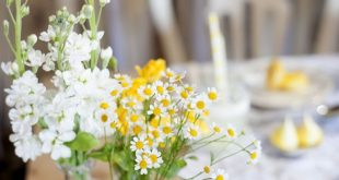 Create a rustic wedding theme with a summery burst of yellow