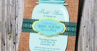 Printable Mason Jar Teal Bridal Shower Invitation-Chevron Pink-Teal-DIY-Rustic- Country-Wedding-Shower-Rehearsal Dinner