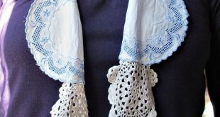 Romantic Boho Scarf Rustic Chic For Women Vintage Doilies Shabby Cream Blue Clothing Crochet Retro Repurposed Skinny Scarf Upcycled