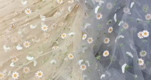 1 Yard Exquisite Daisy Floral Embroidered Dress Lace Fabric in Champagne Gray Tulle Stylish Costume Ballgown Prom Skirt Sewing lace