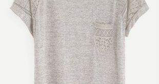 Casual Plain Regular Fit Round Neck Short Sleeve Grey Contrast Lace Raglan Sleeve Tee
