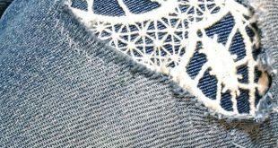 DIY - Jeans mit Spitze flicken - #diy #flicken #Jeans #mit #Spitze #trousers