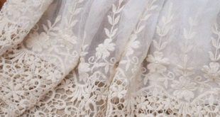 Ecru Embroidered Lace Fabric Wedding Bridal Lace Trim Dress Gown Supplies Veil A...