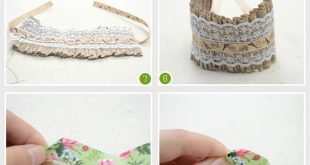 Feminine and Stylish Flower Cuff Bracelet to Make with Fabric and Lace Trim - #D...