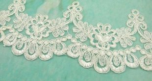 Off-White Beaded Lace Trim Floral Lace Edging Vintage Embroidery Lace Fringe 7.5 inches for Wedding Dress Costume Craft Making 1 Yard