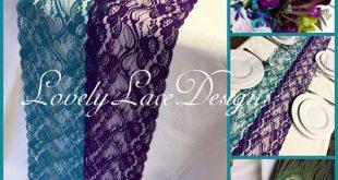 "Peacock Weddings /Purple/Teal/Green Lace Table Runners,3ft-11ft x 13"" Wide/Weddings/Wedding Decor/Overlay/wedding centerpiece"