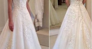 Round Neck Rustic Wedding Dress Lace Bridal Gown,GDC1349