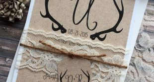 Rustic Wedding Invitation, Antler Wedding Invitation, Lace Wedding Invitations, Barn Wedding Invitat