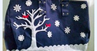 Winter Holiday Tote Bag using Vintage Crocheted Doilies as Snowflakes
