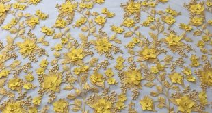 Yellow 3D Floral Design Embroider With Pearls On A Mesh Lace Dresses-Prom-Nightgown By Yard