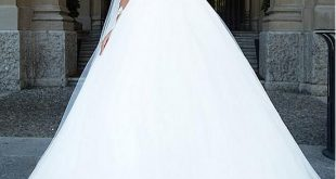 [187.00] Amazing Tulle & Satin Bateau Neckline A-Line Wedding Dresses With Beaded Lace Appliques