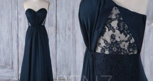 Bridesmaid Dress Navy Chiffon Dress Wedding Dress Ruched Sweetheart Prom Dress Strapless Maxi Dress illusion Lace A-Line Party Dress(L285)