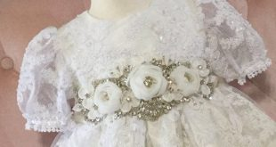 Christening gown handmade baby girl baptism dress lace vintage lace fabric