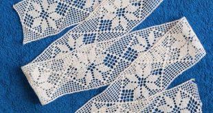 Cotton Crocheted Lace Trim, vintage lace edging, white antique Russian handmade crochet lace border, retro Soviet textile decor braid