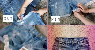DIY video on how to turn old worn jeans into cute lace shorts!