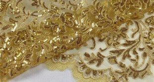 Embroidery Shinny Sequined Gold Lace Fabric Trimmings Materials Lace Mesh DIY Dance Costume Wedding Prom Gown Dress 47 inch Width
