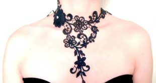 Hand dyed large black lace choker bib necklace - Floral Vintage exquisite - Fabric wearable art jewelry - designer jewelry gift for her