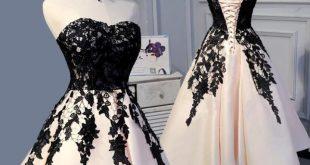 LP3373 Tee Länge Champagner und Schwarzer Spitze Hochzeit Kleid Abendkleid ... ...