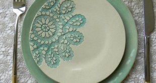 Lace Ceramic Dessert and Dinner Plate Set of 2 Unique Mint Serving Plate Wedding Decoration Hand Built Turquoise Color