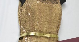 Leslie Fay Gold Lace Dress NWT, Metallic Gold Leslie Fay Lace Cocktail Dress nud...