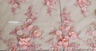 Luxury 3D Rosebud Beaded Flower Lace Fabric in Dusty Pink ,Gorgeous Beading Embellishments Fabric fo