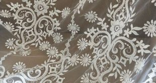 Luxury Ivory Alencon Lace Fabric Floral Beaded Sequined Lace Fabric For Wedding Dress Coat Fabric 51 Inches Wide By The Yard