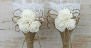 Rustikale Hochzeit Gläser Champagner Flöten von HappyWeddingArt