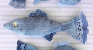 Upcycled Denim Fish Published in GreenCraft Magazine (Vintage with Laces)