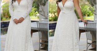 With sleeves or sleeveless this plus size lace wedding gown is the most breathta...