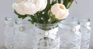 10 decorated wedding jars white lace and pearl ribbon Rustic vintage handmade baby shower glass centrepiece decor
