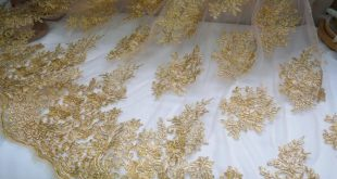 """Vintage Gold Alencon Embroidered Lace Fabric Retro Floral White Mesh Evening Dress Lace Fabric 51"""" Wide By The yard"""