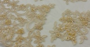 Beige Lace fabric, gold French Lace, Alencon Lace, Bridal lace, Wedding Lace, Garter lace, Pearl lace, Sequin Lace, Beaded KSBY61575CB
