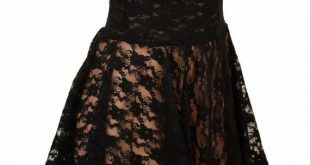 Black Lace Sheer See Through Circle Cut Mini Skirt Rave Clubwear EDM 154448