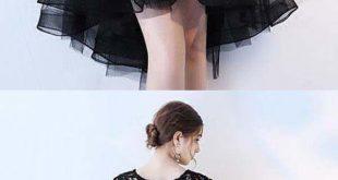 Black Lace Short Prom Dress Hight Low Evening Dress Homecoming Dresses PD152