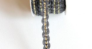 Black Lace Trim With Silver Sequins, Approx. 10 mm wide - 140316L225E