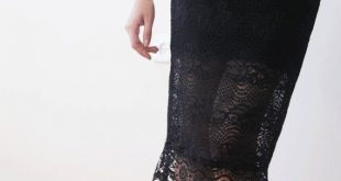 Black lace knee length skirt, Black pencil skirt, Lace midi black skirt 3031