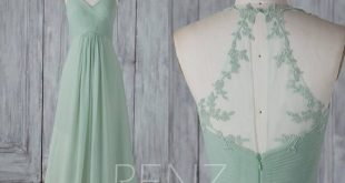 Bridesmaid Dress Dusty Mint Chiffon Wedding Dress Lace Halter Maxi Dress Ruched V Neck Party Dress Illusion Back A-Line Evening Dress(H589)