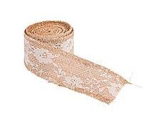 Burlap Ribbon with Vintage Lace