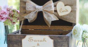 Burlap and lace card box, rustic wedding card box, burlap wedding decor, barn reception decor