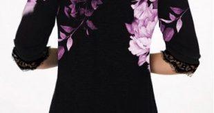 Button Up Lace Panel Flower Print T Shirt   modlily.com - USD $28.41