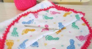 Crochet Edging Tutorial; How to Crochet Baby Burp Cloth, Crocheted Lace Edge.