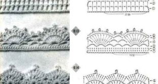 Crochet edging diagrams for a afghan, baby blanket, scarf, dish towel, pillowcas...