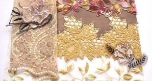 Gold Floral Lace Grab Bag, Gold and Brown Lace, Renaissance Dolls, Crazy Quilting, Lace Crafts, Textile Art, Upcycling
