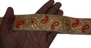 Gold Red Indian trim Jacquard Trim Designer Lace Fabric Trim Indian Lace saree borders indian border