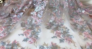 Gray, Pink, Gold Mixed Color Lace Fabric, 3D Pearls Beading Blooming Flowers Fabric, Sequined Bridal Lace Fabric by Yard