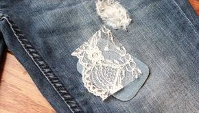 Great idea for patching holes-- Lace Patch for Jeans (DIY)